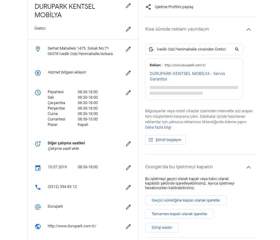 Google Benim İşletmem Alıntı Alanları