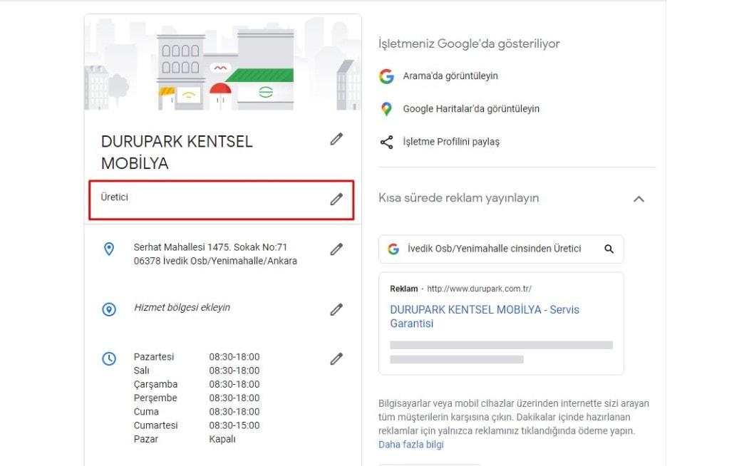 Google My Business Kategori Ekleme Alanı