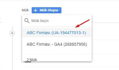Google Analytics Mülk Seçimi