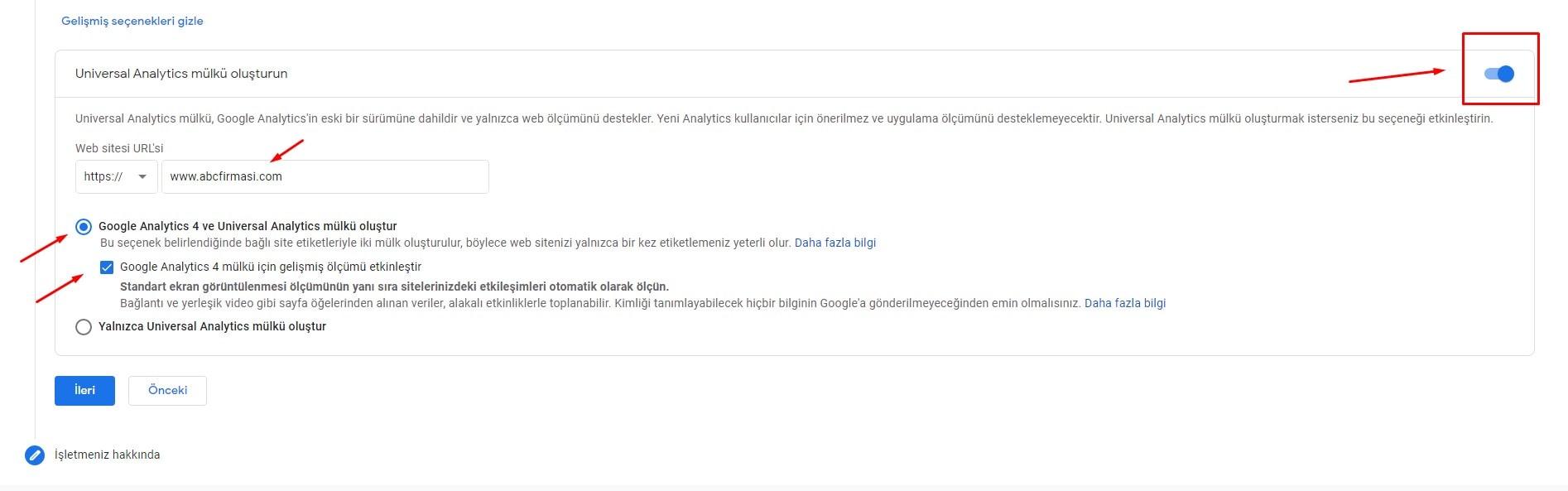 Google Analytics 4 Mülk Oluşturma