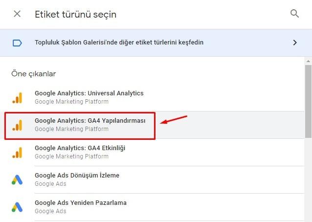 Etiket Türü / Google Analytics: GA4 Yapılandırması