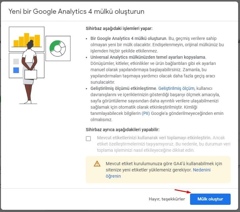 Yeni Google Analytics 4 Mülkü Oluşturma