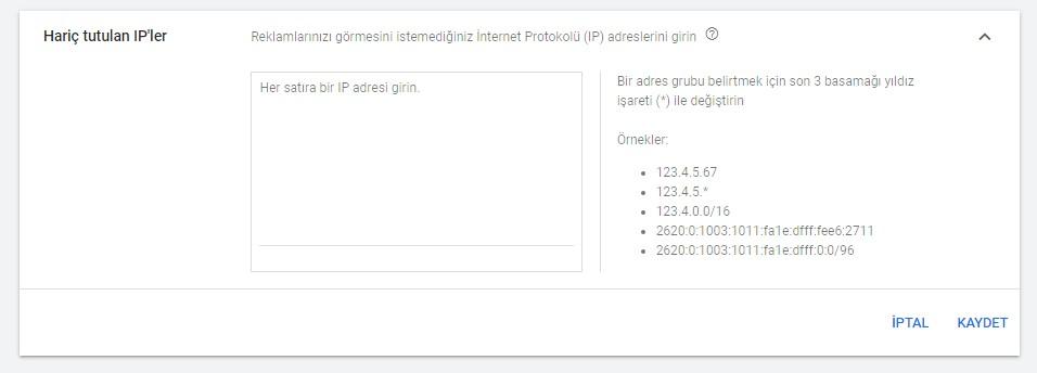 Google Ads Hariç Tutulan IP Giriş Alanı