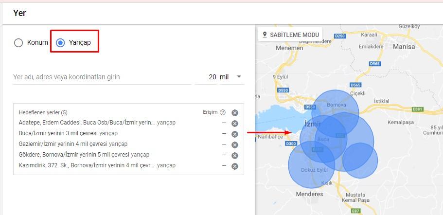 Google Ads Yer Hedefleme